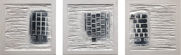 "Daniel Fiorda Abstract Painting - ""Pen Decline 1 - 2 - 3 in White"" (Archeology series) Computer Keyboard Sculpture"