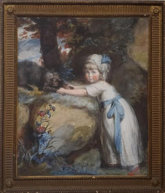 Pastel Portrait of A Child Playing With Her Dog