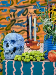 Blue Skull with Candles, 2020 - Daniel Gordon