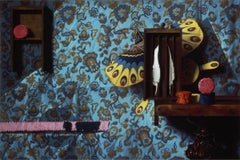 BLUE FEATHER PAINTING, light blue wall paper, still-life, hyper-realism