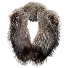 Daniel Hechter Brown & White Fox Fur Collar