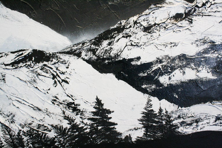 Painting of a snowy mountain landscape with trees on the horizon.    Daniel Holland (b. 1984, South Carolina, United States) attended Watkins College of Art and Design. He has shown in multiple exhibitions around Tennessee, such as OZ Arts Nashville