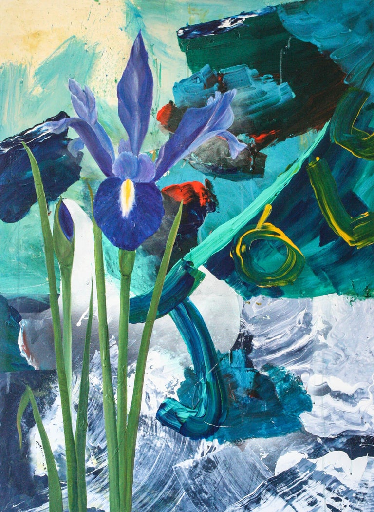 Figurative Abstract painting of a purple Iris with deep blues, turquoise and greens.  Daniel Holland (b. 1984, South Carolina, United States) attended Watkins College of Art and Design. He has shown in multiple exhibitions around Tennessee, such as