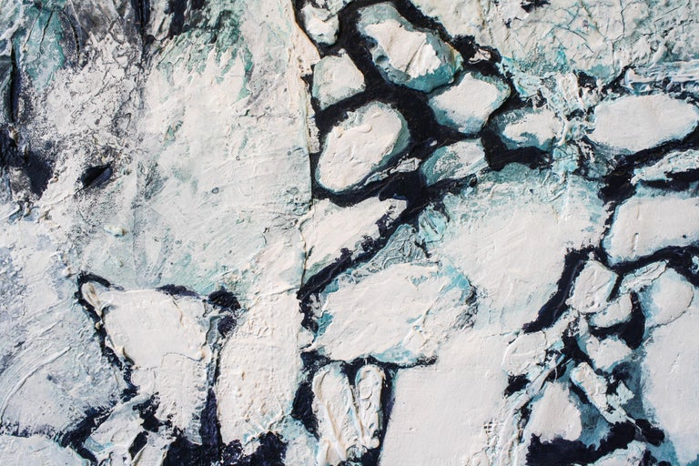 Topographical and textured painting of a vast and snow covered landscape. Crisp whites and deep blues.     Daniel Holland (b. 1984, South Carolina, United States) attended Watkins College of Art and Design. He has shown in multiple exhibitions