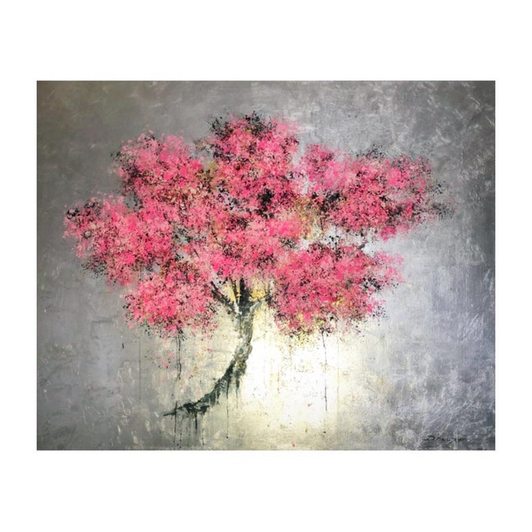 Blossom Oil paint Easter Spring Acrylic paint Original exceptional silver leaf - Contemporary Painting by Daniel Hooper