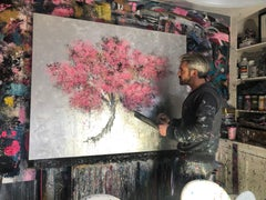Blossom Oil paint Easter Spring Acrylic paint Original exceptional silver leaf