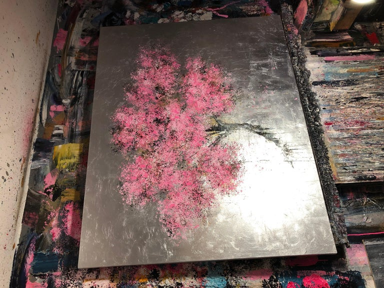 Blossom Oil paint Easter Spring Acrylic paint Original exceptional silver leaf - Brown Landscape Painting by Daniel Hooper