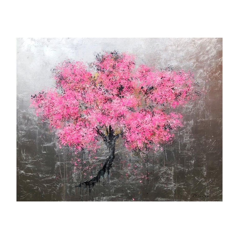 Blossom Oil paint Easter Spring Acrylic paint Original exceptional silver leaf - Painting by Daniel Hooper