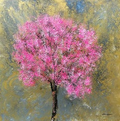 Blossom Gold original floral Contemporary abstract  painting