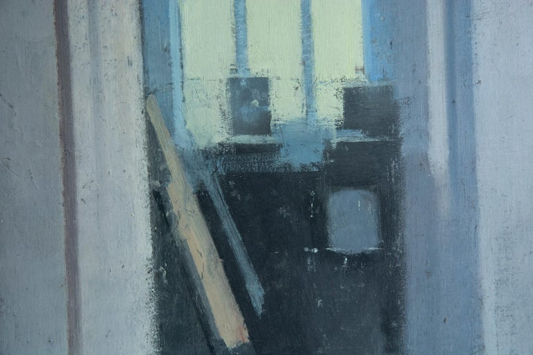 Studio, Small Acrylic Cool Blue Interior Scene - Painting by Daniel Hughes