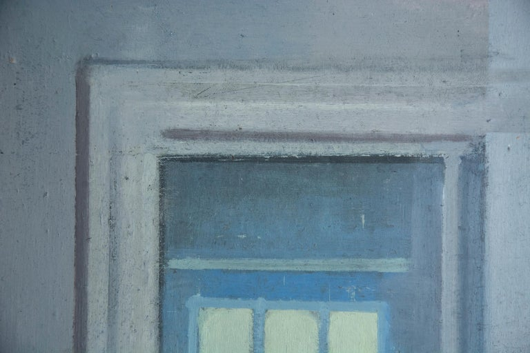 Studio, Small Acrylic Cool Blue Interior Scene - Contemporary Painting by Daniel Hughes