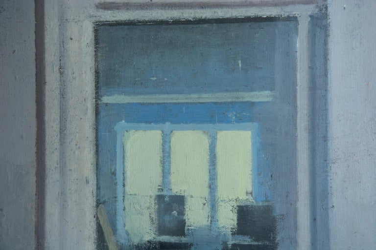Studio, Small Acrylic Cool Blue Interior Scene - Gray Interior Painting by Daniel Hughes