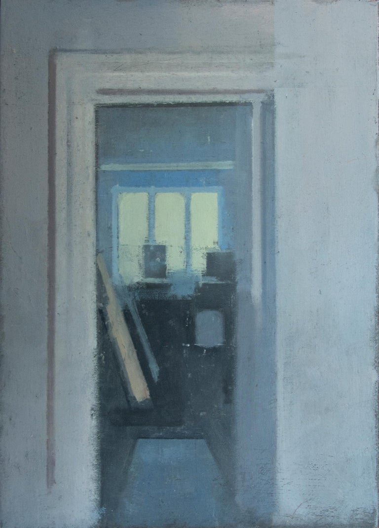 Daniel Hughes Interior Painting - Studio, Small Acrylic Cool Blue Interior Scene