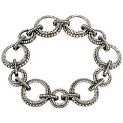 Daniel K Diamond 18 Karat Gold Circle Chain Link Bracelet