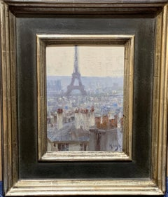 20th Century, Oil painting of the  Paris roof tops view with the Eiffel Tower