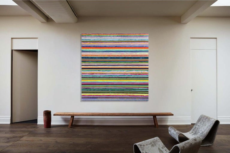 Watermelon Ginger Wheat by Daniel Klewer  Contemporary striped colorful painting For Sale 2