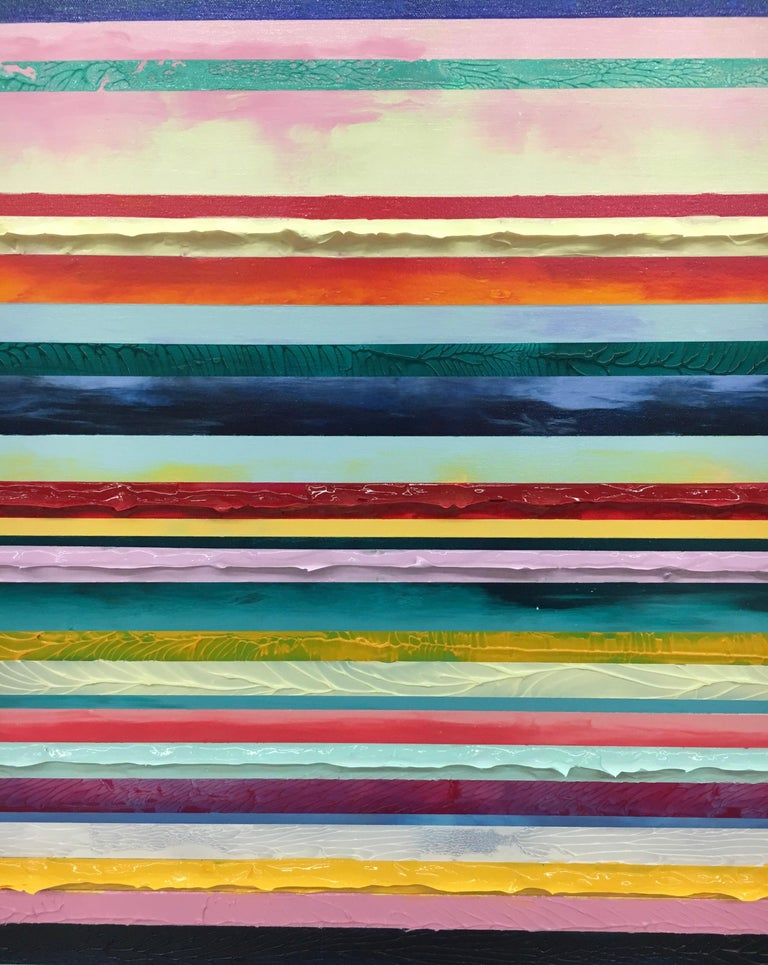 Watermelon Ginger Wheat by Daniel Klewer  Contemporary striped colorful painting For Sale 3