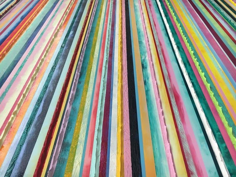 Watermelon Ginger Wheat by Daniel Klewer  Contemporary striped colorful painting For Sale 4
