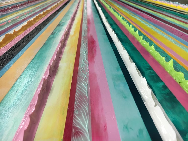 Watermelon Ginger Wheat by Daniel Klewer  Contemporary striped colorful painting For Sale 5
