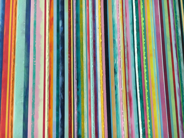 Watermelon Ginger Wheat by Daniel Klewer  Contemporary striped colorful painting For Sale 6