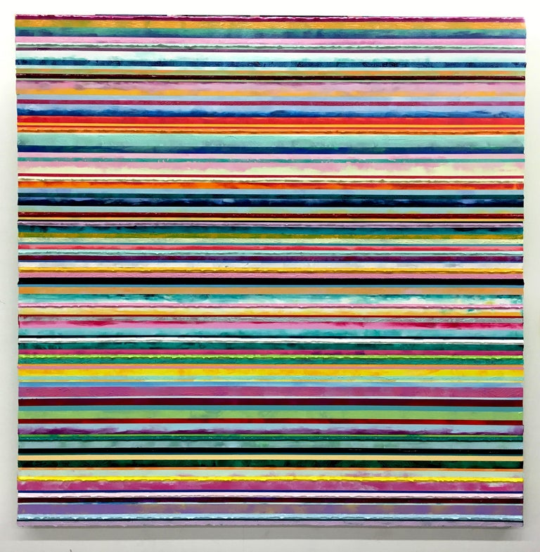"""Daniel Klewer is a contemporary American painter, living and working in Green Bay, Wisconsin.  'I continue to celebrate my love of painting in my series """"Linear Tactility"""". The paintings all share a consistent linearly divided composition with"""