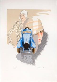 Daniel Lebier,  Art Deco style car lithographs.