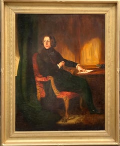 19th century British portrait of Sir Charles Dickens seated in an interior