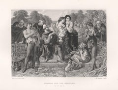 Orlando And The Wrestler (As You Like It), William Shakespeare play engraving
