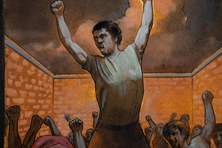 Protest Revolt and Uprising illustration - Painting by Daniel Maffia