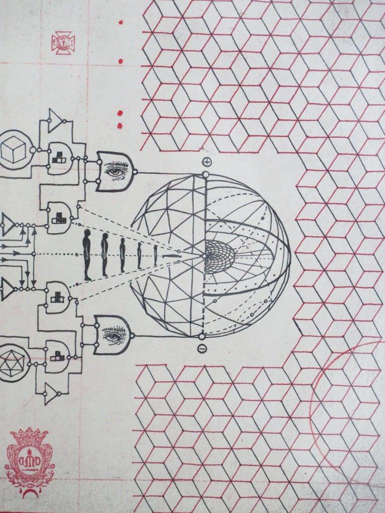 Space Age Daniel Martin Diaz drawing Cybernetic Phanton For Sale