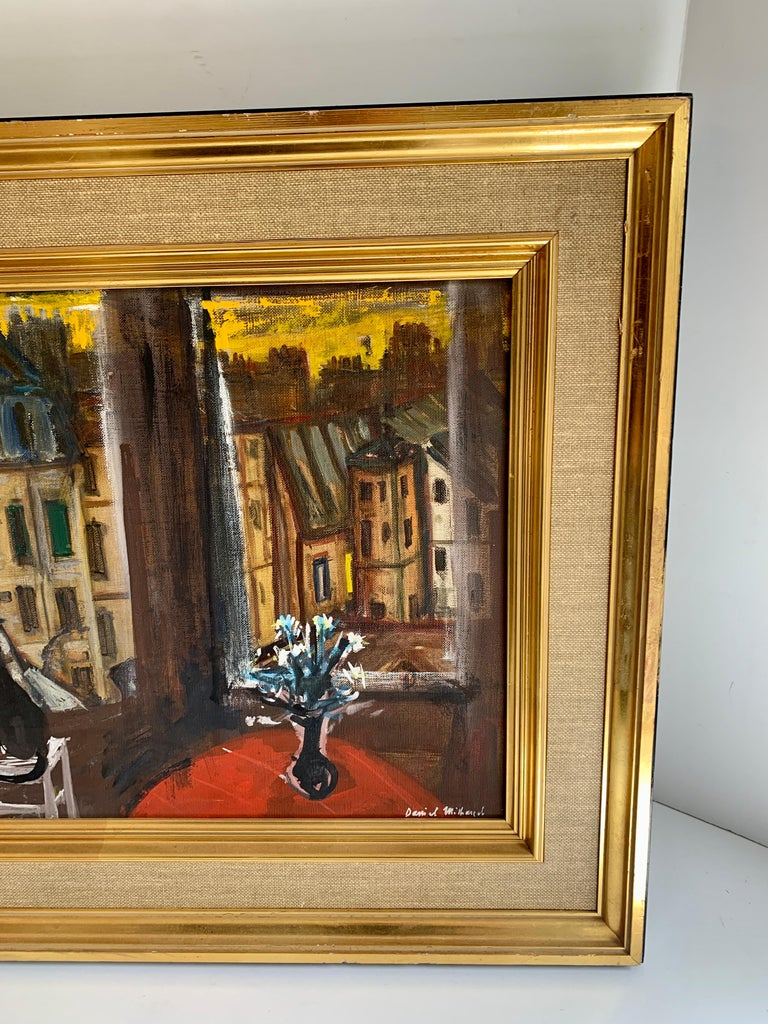 Daniel Mihaud Oil on Canvas Painting of a Cat In Good Condition For Sale In Los Angeles, CA