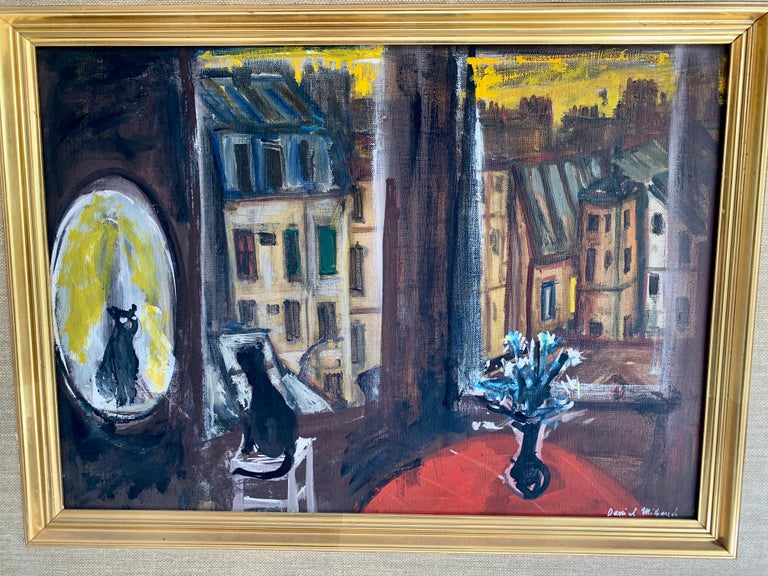 20th Century Daniel Mihaud Oil on Canvas Painting of a Cat For Sale