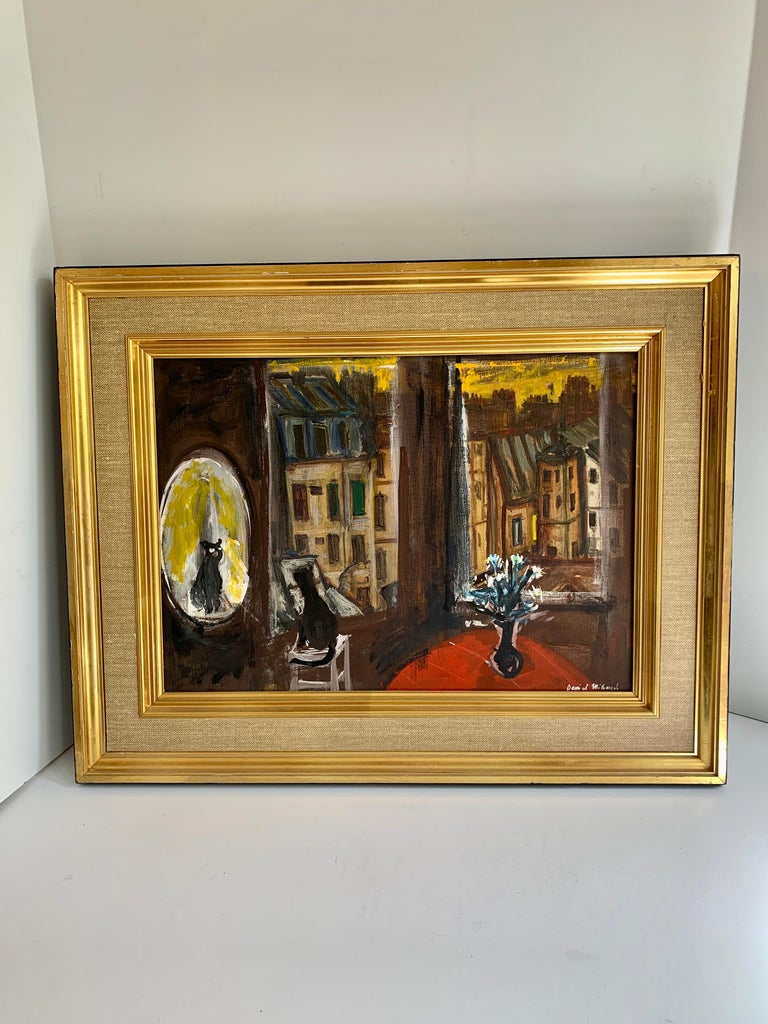 Daniel Mihaud Oil on Canvas Painting of a Cat For Sale 1
