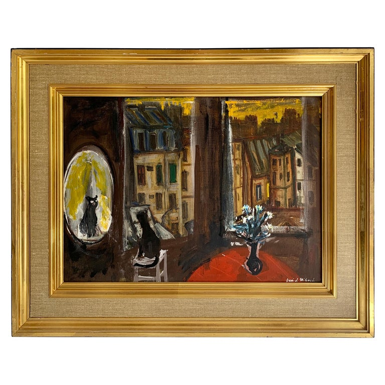 Daniel Mihaud Oil on Canvas Painting of a Cat For Sale