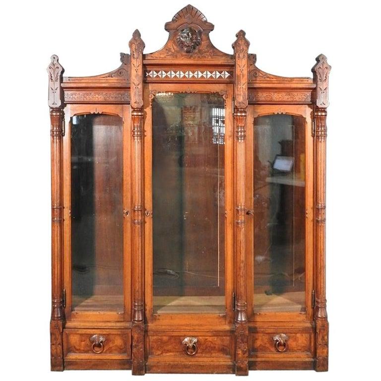 Daniel Pabst Walnut Renaissance Revival Victorian Three-Door Bookcase circa 1870 For Sale