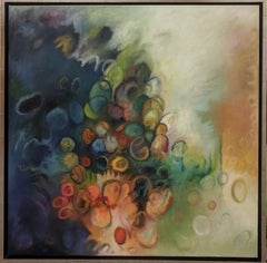 Circles One, Square Abstract Painting in Orange, Green, Indigo, Dark Violet