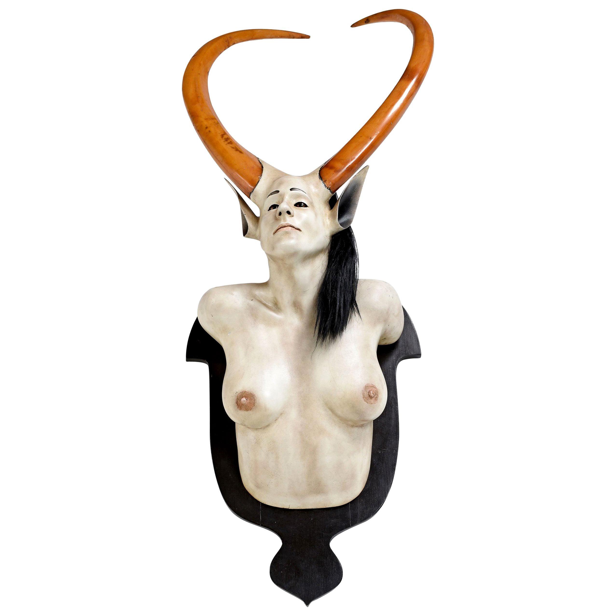 Daniel Painter Original Wall-Mounted Fantasy Horned Female Bust Figure
