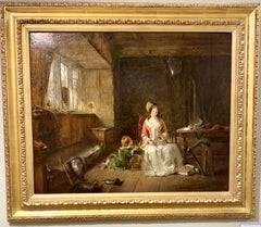 Antique English 19th century interior with mother and child and family treasures