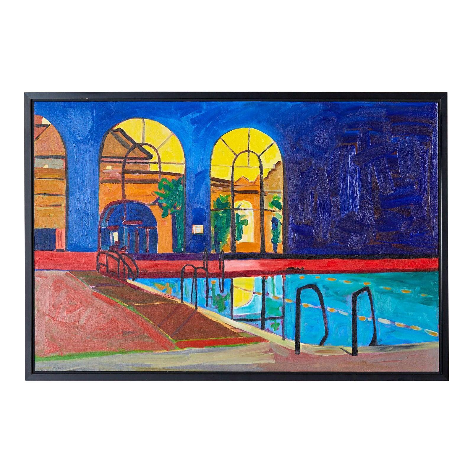 """Pool"" Oil on Canvas Painting"