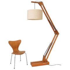 Daniel Pigeon Oak Articulated Floor Lamp, French, 1960s
