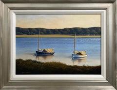 """Catboats,"" Coastal Landscape Oil Painting"