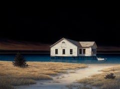 "DANIEL POLLERA ""Old Boathouse"" contemporary night seascape oil on linen"