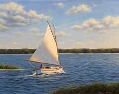 """Sailing Out to the Bay,"" Realist Coastal Oil Painting"