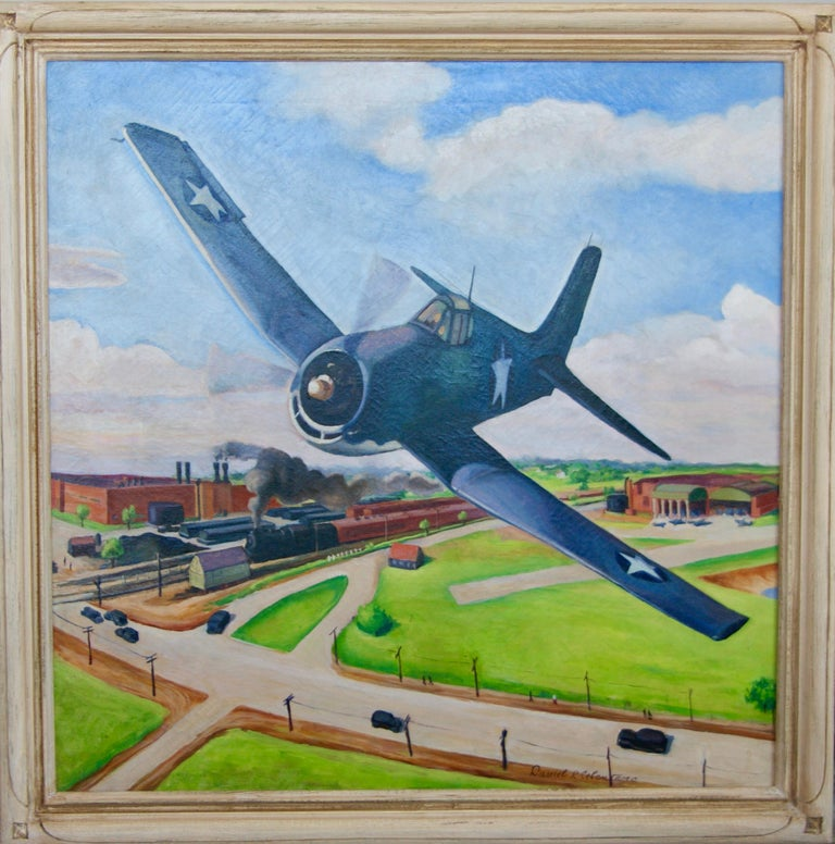 FLIGHT American Futurism Modernism Scene WPA Mid-Century Oil Painting Realism For Sale 2