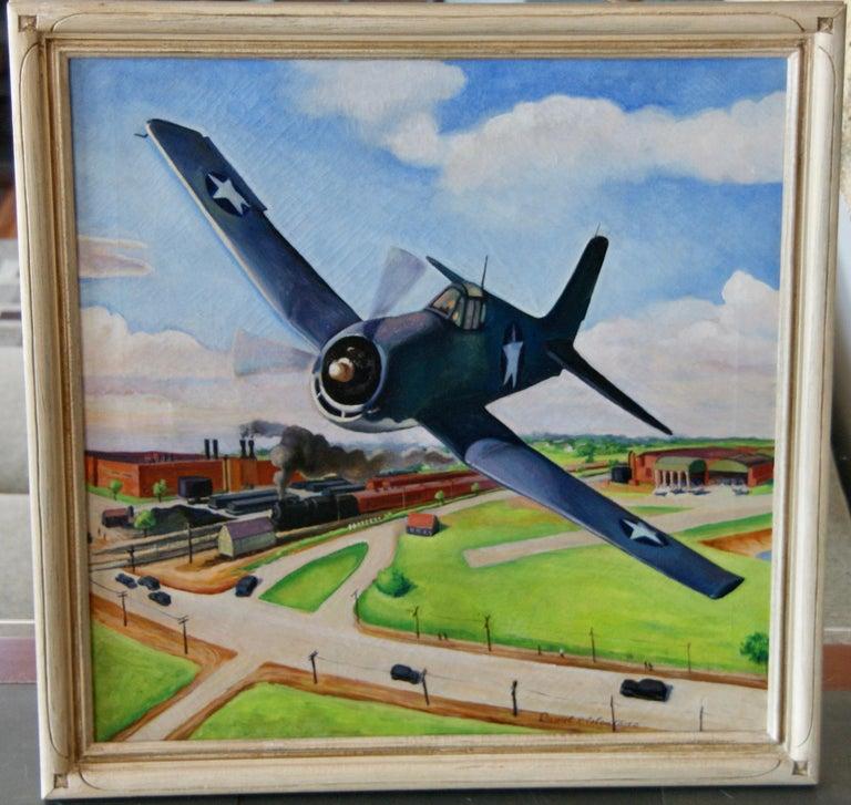 FLIGHT American Futurism Modernism Scene WPA Mid-Century Oil Painting Realism  Daniel Celentano (1902-1980)