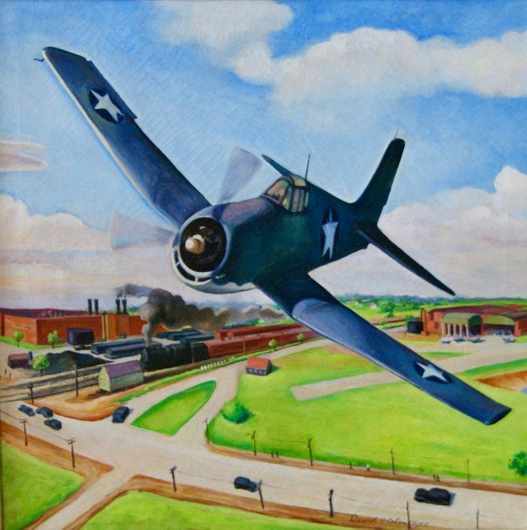 Daniel Ralph Celentano Landscape Painting - FLIGHT American Futurism Modernism Scene WPA Mid-Century Oil Painting Realism