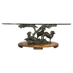 Daniel Ray Parker Bronze Table Sculpture with Three Rams, Distant Thunder