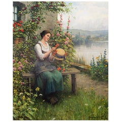 Daniel Ridgway Knight American 1839-1924 Trimming Her Sunday Hat