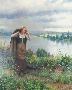 """Approaching Storm,"" Oil Painting on Canvas signed by Daniel Ridgway Knight"
