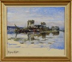 The Island, DANIEL RIDGWAY KNIGHT - American Impressionist, Realism, Landscape,